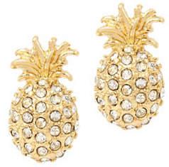 BCBGeneration Angeleno Summer Crystal Stone Pineapple Stud Earrings