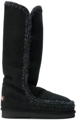 Mou whipstitched knee boots