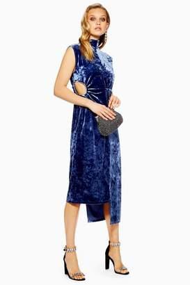 Topshop Petite Velvet Ruched Midi Dress
