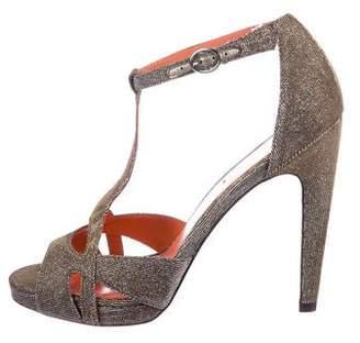 Via Spiga Glitter T-Strap Sandals
