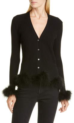 Opening Ceremony Rib Wool Cardigan with Feather Trim