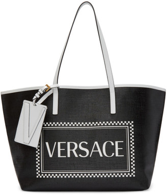 Versace Black Small 90s Vintage Logo Tote