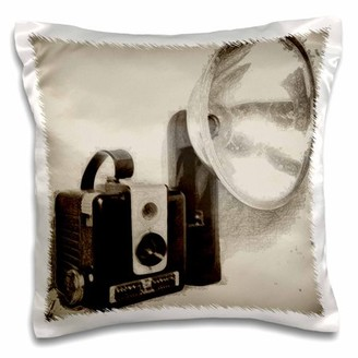 3dRose Picture of a Vintage 1950s camera with bulb flash - Pillow Case, 16 by 16-inch