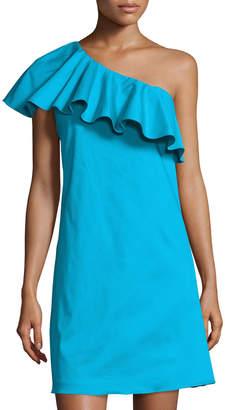 Tahari ASL Ruffled One-Shoulder Sateen Dress, Blue