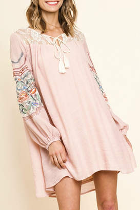 Umgee USA Embroidered Lace-Yoke Dress