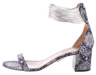 Aquazzura Canvas Mid-Heel Sandals