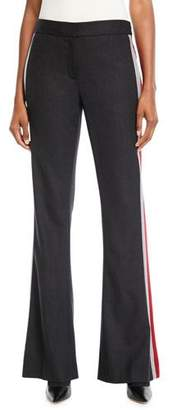 Elie Tahari Anna Side-Stripe Boot-Cut Pants
