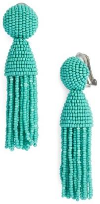 Women's Oscar De La Renta 'Classic Short' Tassel Drop Clip Earrings $345 thestylecure.com