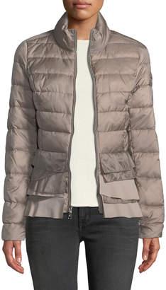 T Tahari Flare-Hem Stand-Collar Packable Puffer Jacket