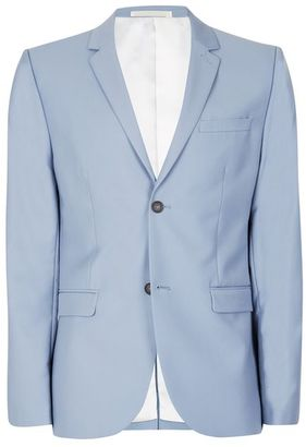 Dusty Blue Twill Skinny Fit Suit Jacket $220 thestylecure.com
