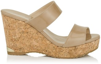 Jimmy Choo PARKER 100 Nude Patent Cork Wedges