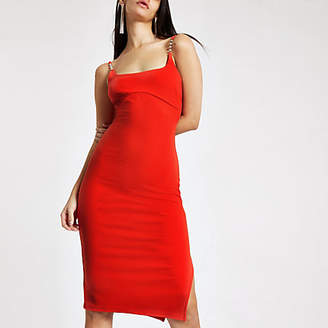 River Island Womens Red ribbed diamante trim midi dress