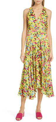 Saloni Rita Floral Print Shark Bite Hem Midi Dress