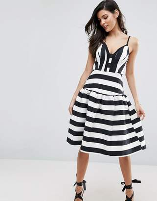 ASOS Curved Stripe Trumpet Hem Midi Prom Dress $98 thestylecure.com