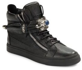 Lizard-Embossed Leather High-Top Sneakers $1,195 thestylecure.com