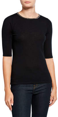 Neiman Marcus Crewneck Elbow-Sleeve Cashmere Sweater with Chain Trim