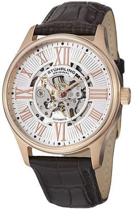 Stuhrling Original Sthrling Original Mens Brown Leather Strap Skeleton Automatic Watch