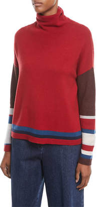 Loro Piana Turtleneck Long-Sleeve Striped Cashmere Sweater