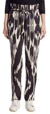 Theory Gunilla Ikat Silk Straight-Leg Pants