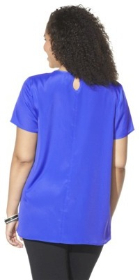 Pur Pure Energy Women's Plus-Size Short-Sleeve Blouse - Blue