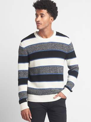 Stripe shaker stitch crewneck sweater