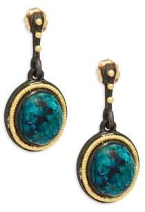 Armenta Midnight Oval Yellow Gold Gemstone Drop Earrings