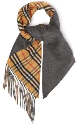 Burberry House Check Cashmere Scarf - Womens - Grey