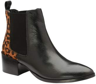 Ravel Womens Leather Leopard Ankle Boot - Brown