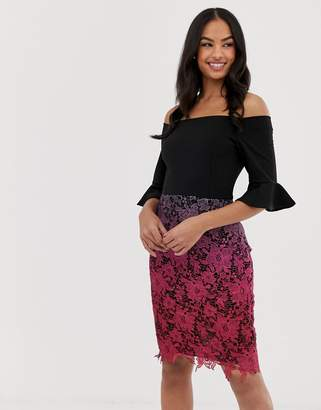 Paper Dolls color block bardot top ombre crochet pencil dress