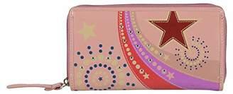 Tresori Women's Real Leather RFID Data Protected Zip Around Large Wallet