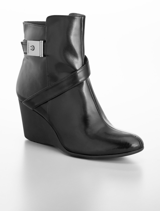 Gianna Leather Buckle Wedge Bootie