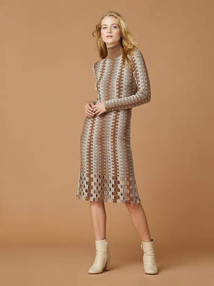 Diane von Furstenberg Turtleneck Knit Wool Midi Dress