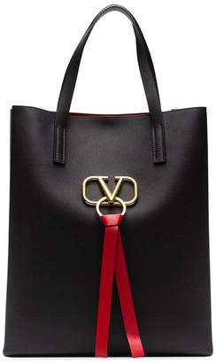 Valentino Black Garavani Vring large leather tote