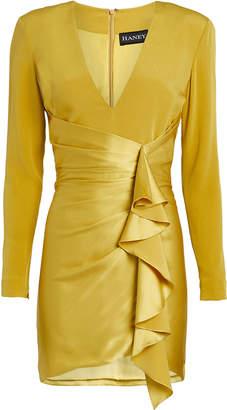Haney Contrast Satin Drape Ruffle Mini Dress