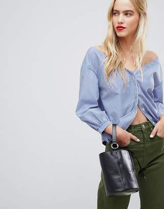 Whistles Pinstripe Off Shoulder Shirt