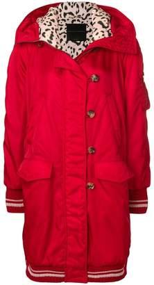 Ermanno Scervino pink leopard-lined hooded overcoat