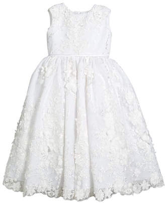 Joan Calabrese Sequin & Lace Over Tulle Dress, Size 4-10