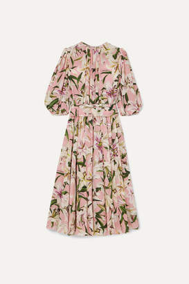 Dolce & Gabbana Belted Floral-print Silk-georgette Midi Dress - Pink
