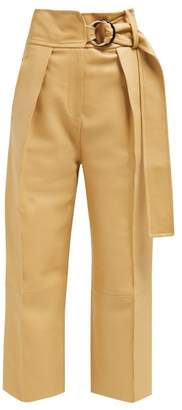 Petar Petrov Haena High Rise Panelled Leather Trousers - Womens - Beige