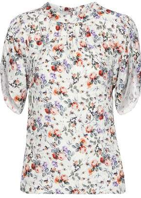 Rebecca Taylor Gathered Floral-print Hammered-silk Blouse