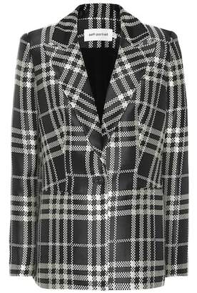 Self-Portrait Checked jacquard blazer