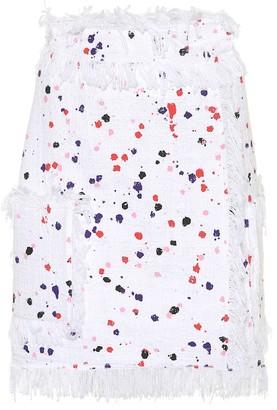 MSGM Fringed paint-splatter skirt