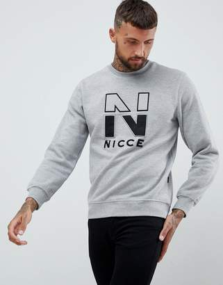 Nicce London campus sweatshirt logo sweat in gray
