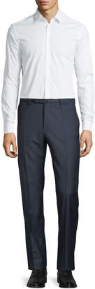 Incotex Benson Standard-Fit Wool Micro-Plaid Trousers