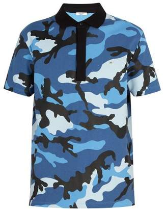 Valentino Camouflage Print Cotton Polo Shirt - Mens - Blue
