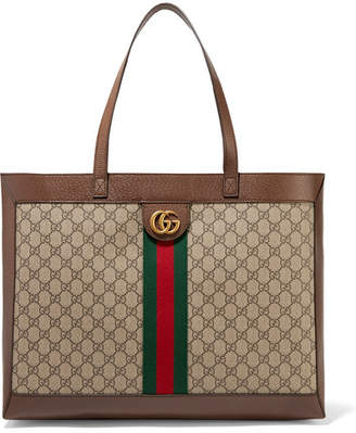 Gucci Ophidia Textured Leather-trimmed Printed Coated-canvas Tote - Beige