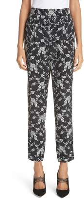 Co Floral Straight Leg Gabardine Trousers
