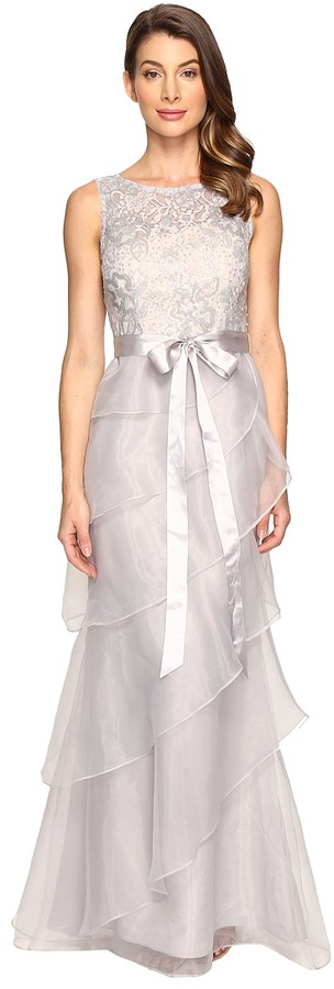 Adrianna Papell Sequin Lace Organza Gown w/ Tier Ruffle
