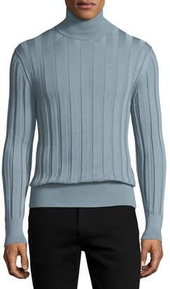 Tom Ford Cashmere-Silk Ribbed Turtleneck, Blue/Silver