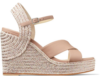 Jimmy Choo DELLENA 100 Ballet Pink Nappa Leather Wedge with Metallic Rope Trim